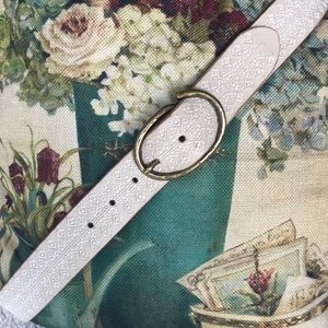 Lucky Brand Ivory Embroidered Belt